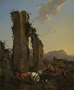 Oil painting 'Nicolaes Berchem Peasants by a Ruined Aqueduct ' printing on high quality polyster Canvas , 20 x 24 inch / 51 x 61 cm ,the best Bar gallery art and Home decor and Gifts is this High Resolution Art Decorative Canvas Prints