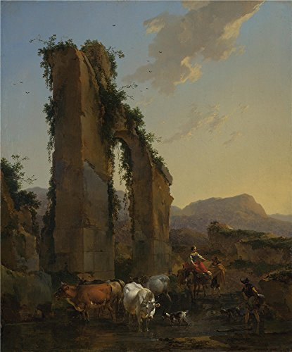 Peasant Villager Costumes (The Perfect effect canvas of oil painting 'Nicolaes Berchem Peasants by a Ruined Aqueduct ' ,size: 20 x 24 inch / 51 x 61 cm ,this Beautiful Art Decorative Prints on Canvas is fit for Gym gallery art and Home decor and Gifts)