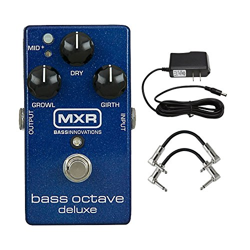 MXR M288 Bass Octave Deluxe Pedal with 9V Power Supply and a Pair of Patch Cables (Best Bass Octave Up Pedal)