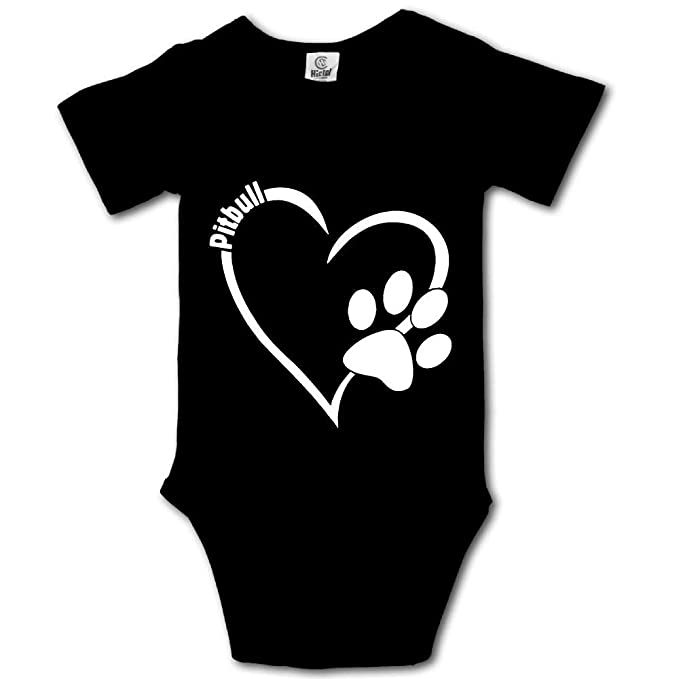 31db0344874 WWTBBJ-B Pitbull Heart Funny Infant Baby Boy Girl Short Sleeve Bodysuit  Jumpsuit Outfits