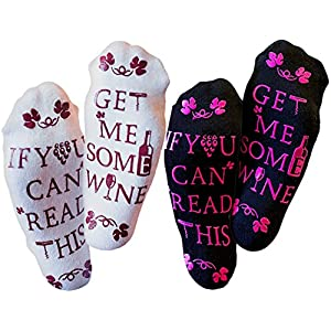 """Wine Socks - """"If You Can Read This Bring Me A Glass of Wine"""" - Two Pack, 4 Socks"""