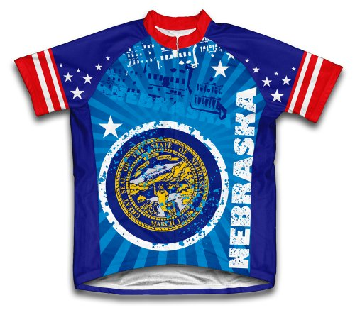 ScudoPro Nebraska Short Sleeve Cycling Jersey for Women - Size XL Blue - Nebraska Cycling Jersey