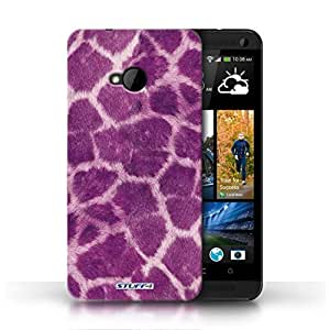 KOBALT? Protective Hard Back Phone Case / Cover for HTC One/1 M7 | Purple Design | Giraffe Animal Skin/Print Collection