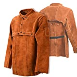 Leaseek Leather Welding Jacket - Heavy Duty Welding Apron with Sleeve (XXX-Large)