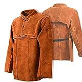 Leaseek Leather Welding Jacket - Heavy Duty Welding Apron with Sleeve (X-Large)