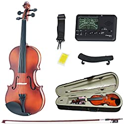 Solid Wood Satin Antique Violin with Hard Case, Shoulder Rest, Bow, Rosin and Extra Strings