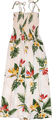 Bird Of Paradise Display - RJC Womens Bird of Paradise Display Elastic Tube Top Sundress in White - L