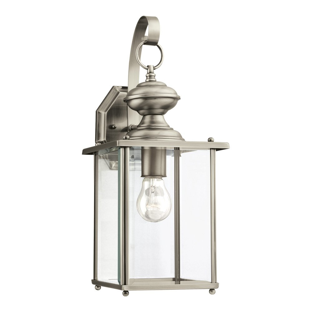 Sea Gull Lighting 8458-965 Jamestowne One-Light Outdoor Wall Lantern with Clear Beveled Glass Panels, Antique Brushed Nickel Finish