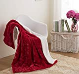DaDa Bedding Valentine Throw Blanket - Hearts in Love Plush Faux Fur Sherpa Fleece Throw Blanket - Soft Embossed Solid Pomegranate Red - 50'' x 60''