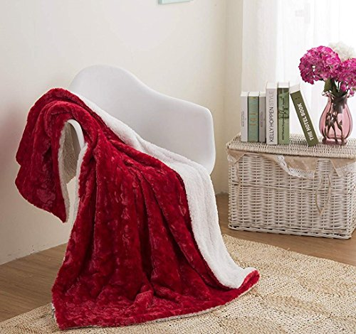 as Throw Blanket - Santa Hearts in Love Plush Faux Fur Sherpa Fleece Throw Blanket - Soft Embossed Solid Pomegranate Red - 63