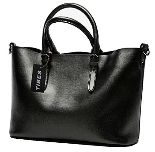 Tibes Vera Pelle Grande vacanze Tote Lady borsa della borsa Nero