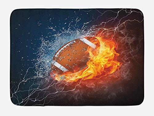 Lunarable Sports Bath Mat, Football on Fire and Water Flame Splashing Thunder Bolt Abstract Conceptual Art, Plush Bathroom Decor Mat with Non Slip Backing, 29.5 X 17.5, Navy Orange
