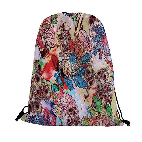 Peacock Decor Nice Drawstring Bag,Colorful Decorative Floral Artwork with Peacock Feather Patterns and Leaves Print For traveling,17.7