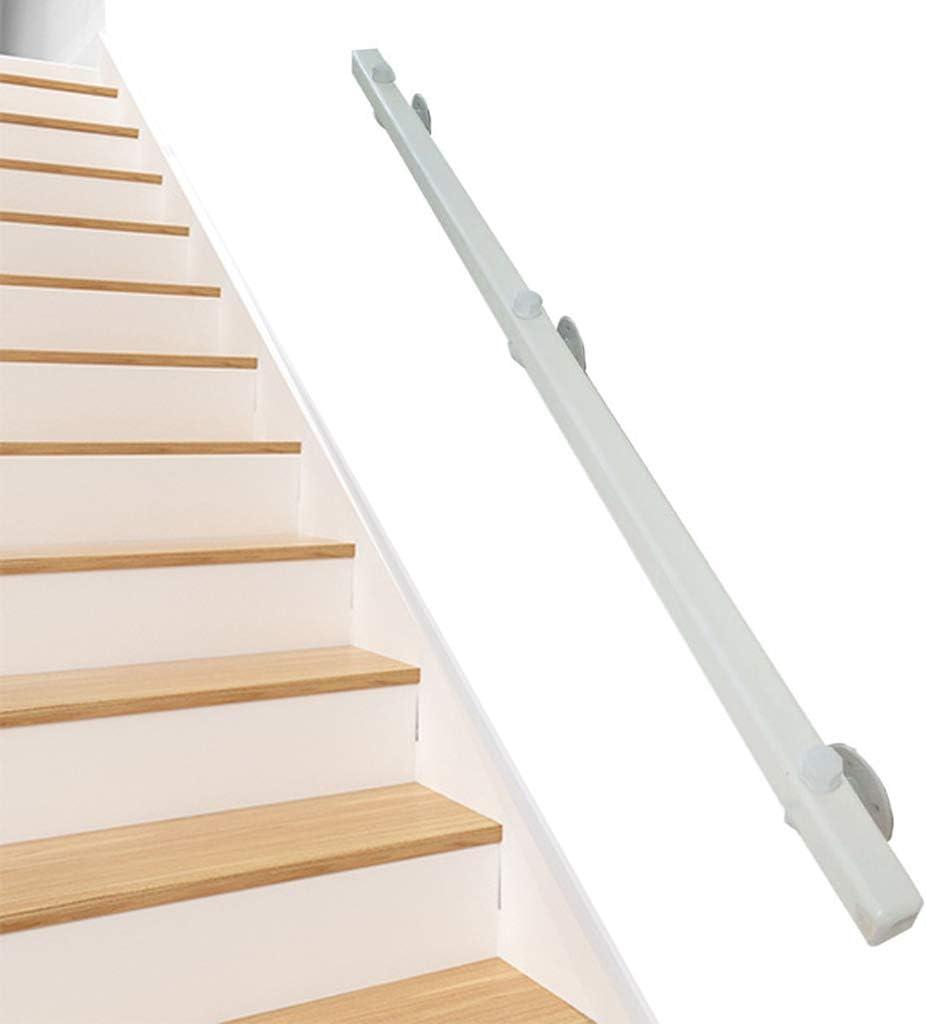 WENBING Blanca Escalera Baranda de Madera con Soporte de Hierro Forjado, montado en la Pared Escalera Barandilla textuales, Ancianos y niños Interior y Exterior Antideslizante Apoyo en Pista,50cm