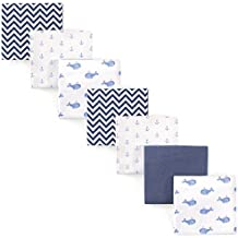 Hudson Baby 7 Piece Flannel Receiving Blanket, Blue Whales, One Size