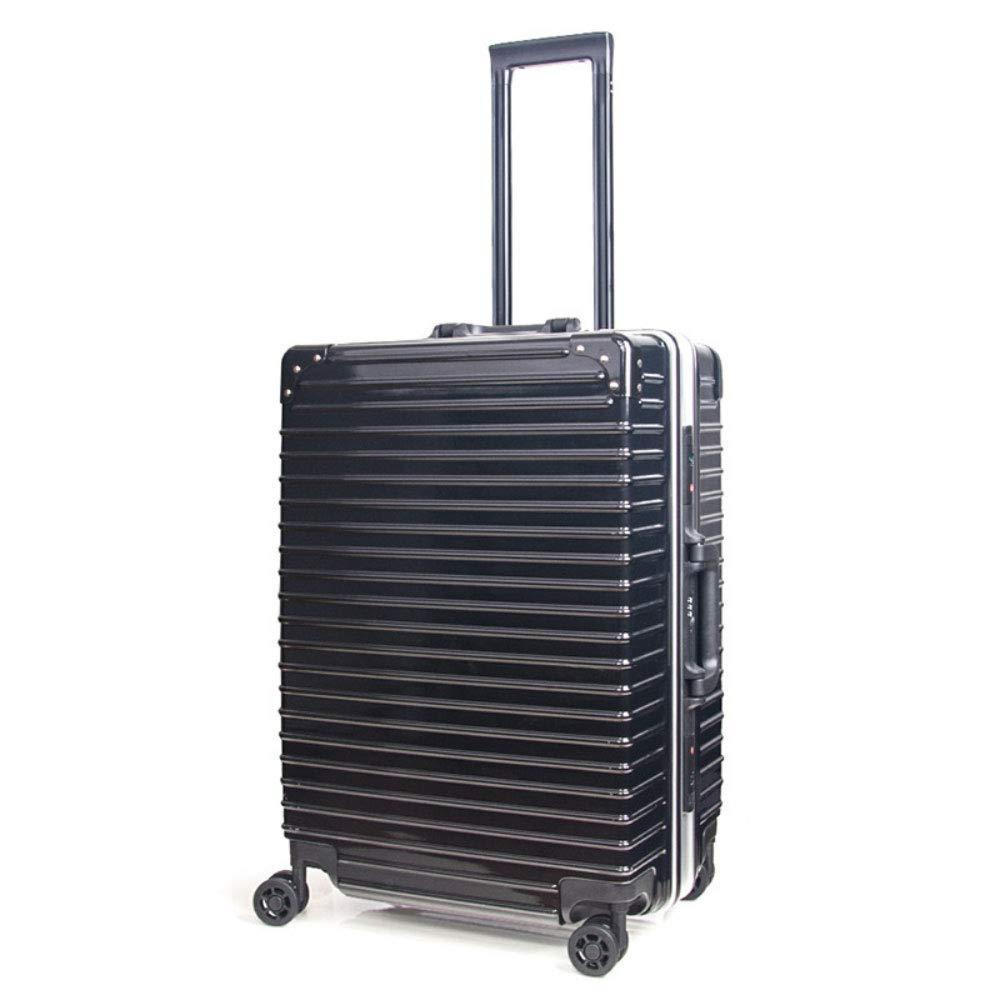 トロリーケースアルミフレームusb充電ソケットユニバーサルホイール学生ボックススーツケース防水搭乗ロックボックス (Color : ブラック, Size : 24 inches)   B07RBRM36B