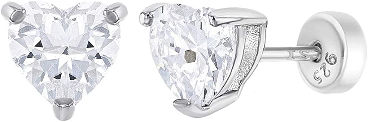 925 Sterling Silver Clear CZ Heart Safety Back Stud Earrings for Girls