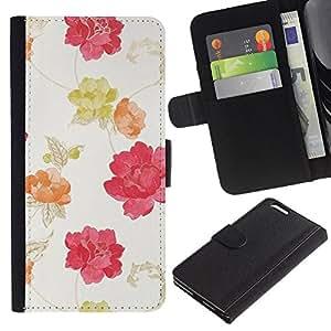 LASTONE PHONE CASE / Lujo Billetera de Cuero Caso del tirón Titular de la tarjeta Flip Carcasa Funda para Apple Iphone 6 PLUS 5.5 / Watercolor Beige Pink Red Yellow