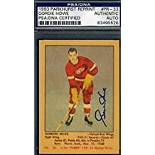 Gordie Howe 1951 93 Parkhurst Reprint Rookie Signed Authentic Autograph - PSA/DNA Certified - Hockey Slabbed Autographed Rookie Cards