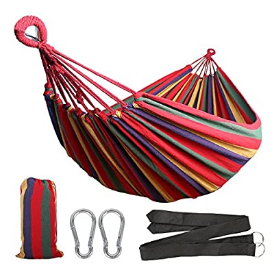 Anyoo Single Cotton Outdoor Hammock Multiples Load Capacity Up to 450 Lbs Portable with Carrying Bag for Patio Yard Garden - Comfortable Cotton Fabric: Constructed of tightly woven, soft fabric, cotton hammocks offer soft, comfortable relaxation, they are designed for cooler temperatures, restricting airflow and preserving body heat. Extra bed room and a lower hang to the ground make it popular, so prepare to relax and enjoy a peaceful nap. Durable With Great Capacity: Machine-washable fabric cotton of durability is the highlight of this Brazilian hammock. It is strong enough to holds up to 450 lbs. Fast: It takes about two minutes to set up the cotton hammock. It comes with 2 carabiners and 2 black wide straps with steel rings at one end. You can attach the hammock to a hammock stand or hang it to the trees. You will enjoy the freedom the stand provides by allowing you to set up your hammock fast in the most convenient location. - patio-furniture, patio, hammocks - 51cfJ5E41DL. SS400  -