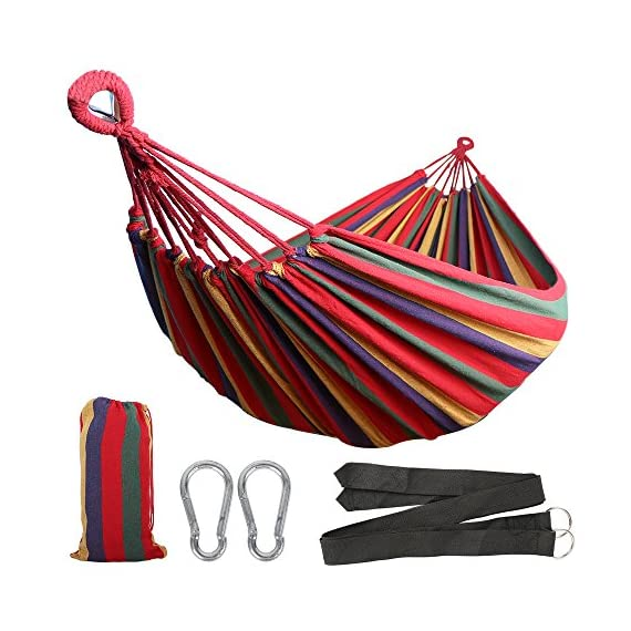 Anyoo Single Cotton Outdoor Hammock Multiples Load Capacity Up to 450 Lbs Portable with Carrying Bag for Patio Yard Garden - Comfortable Cotton Fabric: Constructed of tightly woven, soft fabric, cotton hammocks offer soft, comfortable relaxation, they are designed for cooler temperatures, restricting airflow and preserving body heat. Extra bed room and a lower hang to the ground make it popular, so prepare to relax and enjoy a peaceful nap. Durable With Great Capacity: Machine-washable fabric cotton of durability is the highlight of this Brazilian hammock. It is strong enough to holds up to 450 lbs. Fast: It takes about two minutes to set up the cotton hammock. It comes with 2 carabiners and 2 black wide straps with steel rings at one end. You can attach the hammock to a hammock stand or hang it to the trees. You will enjoy the freedom the stand provides by allowing you to set up your hammock fast in the most convenient location. - patio-furniture, patio, hammocks - 51cfJ5E41DL. SS570  -