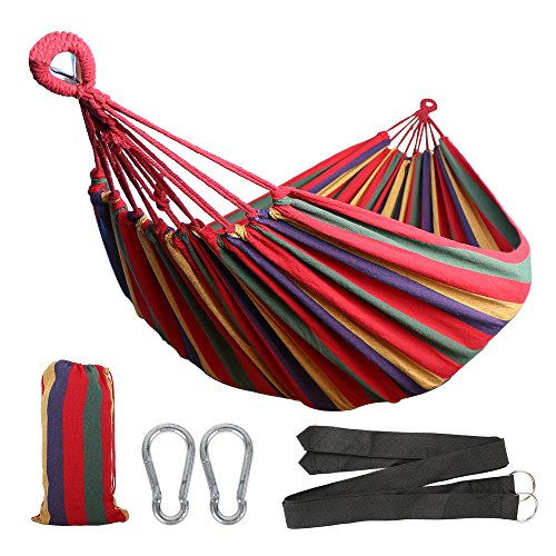 51cfJ5E41DL - Anyoo Single Cotton Garden Hammock Outdoor Camping Portable Canvas Swing Bed Stripe 450lbs Capacity Lightweight with Carry Bag for Patio Yard Beach Backpacking Hiking
