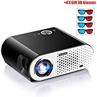 HD 720P LED Projector, NOPTEG GP90 1280x800 Video Projector Support 1080P HDMI USB VGA 3200 Luminous for Home Cinema Theater + Gift 4x 3D Glasses