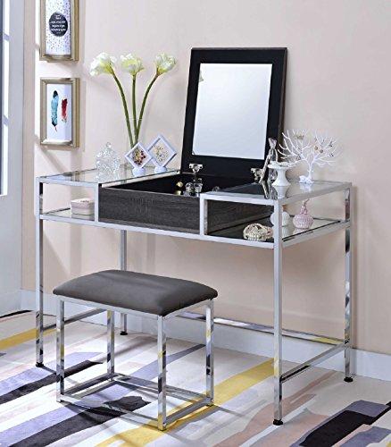 Major-Q 9090310 Gray Oak and Chrome Flip Up Mirror Vanity Set with Stool - Bedroom Oak Vanity