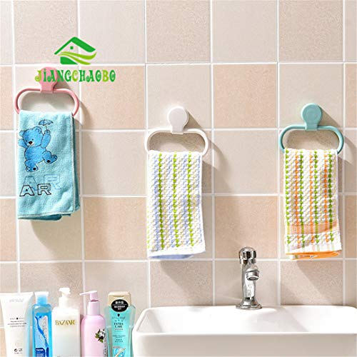 (Jiangchaobo Multifunctional Punch- Towel Rack Kitchen Paste Rag Hanging Rack Bathroom Seamless Stickers Towel Ring Green)
