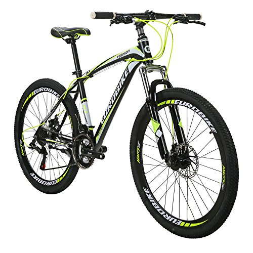 EUROBIKE EURX1 Mountain Bikes 21 Speed MTB Bicycle 26 Inch Wheels Suspension Fork MTB Bicycle 2018 Black-Yellow For Sale