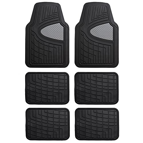 FH Group FH-F11311 Premium Tall Channel Rubber Three-Row Floor mats, Gray/Black Color by FH Group