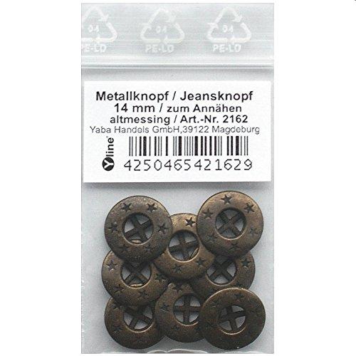 8 Metallknöpfe altmessing m. Sternen 14mm, zum Annähen Metall-, Jeans- Knopf Knöpfe, 2162