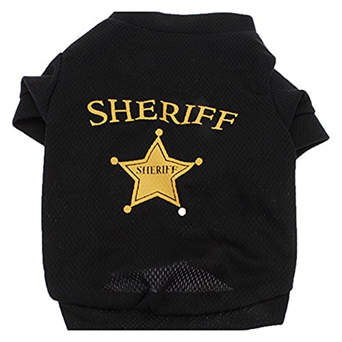 (Quietcloud Fashion Cool Pet Dog Cat Mesh Cloth SHERIFF Star T-shirt Top Clothes Costume size S)