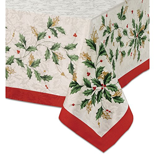 Lenox Golden Holly 60-inch by 84-inch Oblong / Rectangle - Tablecloth Christmas