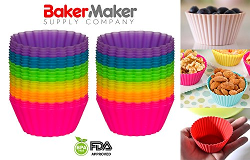 Reusable Silicone Baking Cups, Silicone Cups, Cupcake Baking Cups, Cupcake Liners - Pack of 24 by BakerMaker Supply Company