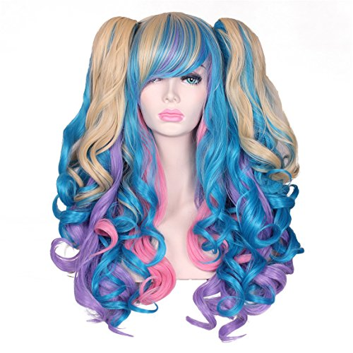 Colorful Tail Costumes (ColorGround Long Curly Lolita Cosplay Wig with 2 Ponytails(Pink/Blue/Blonde))