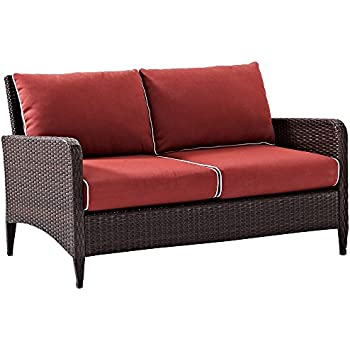 Crosley Furniture Kiawah Outdoor Wicker Loveseat With Sangria Cushions    Brown