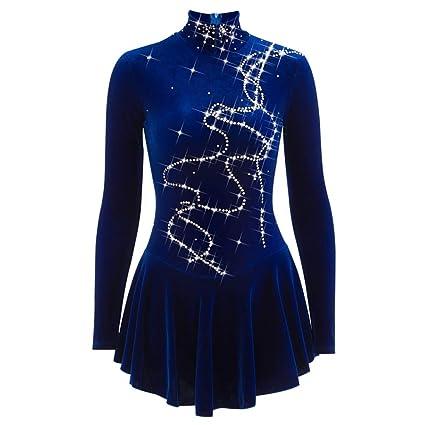 YunNR Vestido de Patinaje Artístico de Terciopelo para Chicas Mujeres Disfraz de Patinaje sobre Hielo Rhinestone