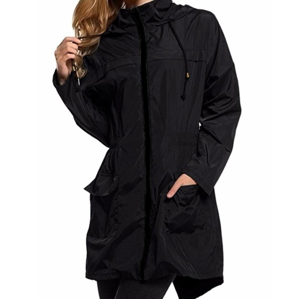 Mikey Store Women Lightweight Jacket Travel Waterproof Raincoat Hoodie Windproof Hiking Coat (Small, Black)