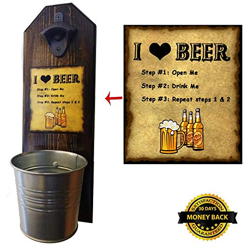 """Cheap """"I Love Beer"""" with Step by Step Directions! Bottle Opener and Cap Catcher – Handcrafted by a Vet – 100% Solid Pine 3/4 inch Thick – Rustic Cast Iron Bottle Opener and Galvanized Bucket"""