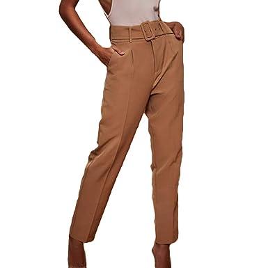 b327ea191ec1 Women s Pure Color Straight Nine Pants Pants High Waist with Belt Suit  Trousers Ladies s Autumn Casual