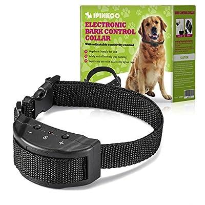 ipinkoo No Bark Collar Training Device,Electric Shock Anti Dog Bark Contorl with 7 Levels Manual Adjustable Sensitivity