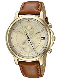 Tommy Hilfiger Women's 'Sophisticated Sport' Quartz Gold-Tone and Leather Casual Watch, Color Brown (Model: 1781818)