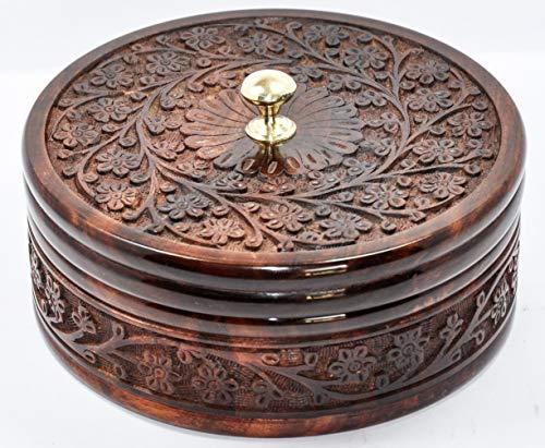 Explore India Crafts Wooden Casserole/Chapati Box Wood Brass Nob Engraving Roti Dabba Sheesham Tableware Serveware  8 Inches
