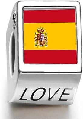 Charm mujer con perla diseño de bandera de España: Amazon.es: Joyería
