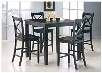Amazon Com 5 Pc Counter Height Dining Set Table Chair Sets