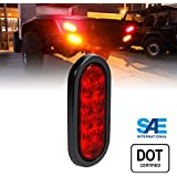 6 Inch Oval RED LED Turn Stop Brake Trailer Tail Light for Trucks RV Jeep - DOT Certified, Grommet & Plug Included