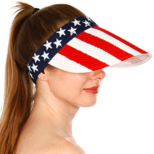 (Sun Visor Beach Golf Protection Cap Women Summer Beach Hat, Outdoor Sports American Flag White)