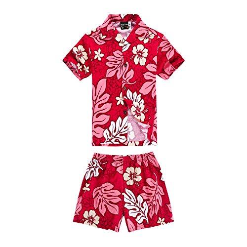 Hijo Hawaiian Luau del equipo que hace juego Camisa de los hombres Shorts de la camisa del muchacho Rojo del hibisco M-4