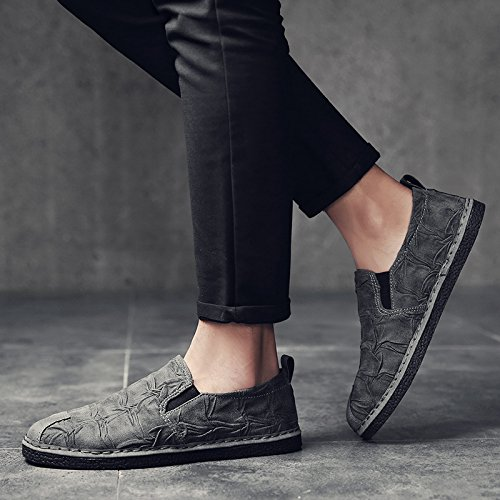 PP FASHION Mens Vintage Low-Top Modern Fashion Sneaker Casual Leather Shoes Grey Nwl1fVJ